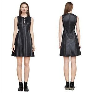Black faux leather dress BCBG